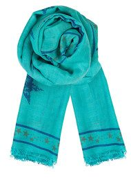 Becksondergaard H Star Of Leaves Silk & Wool Scarf - Green Tint