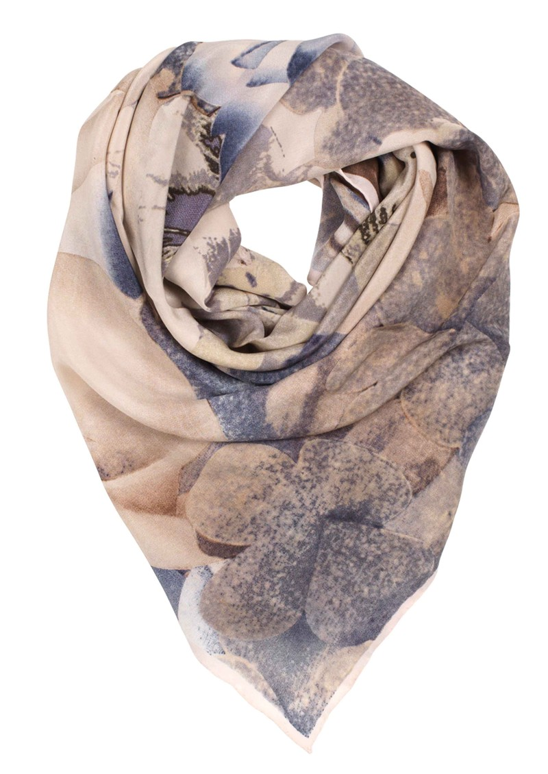 H Cyber Flowers SIlk Scarf - Dull Green main image