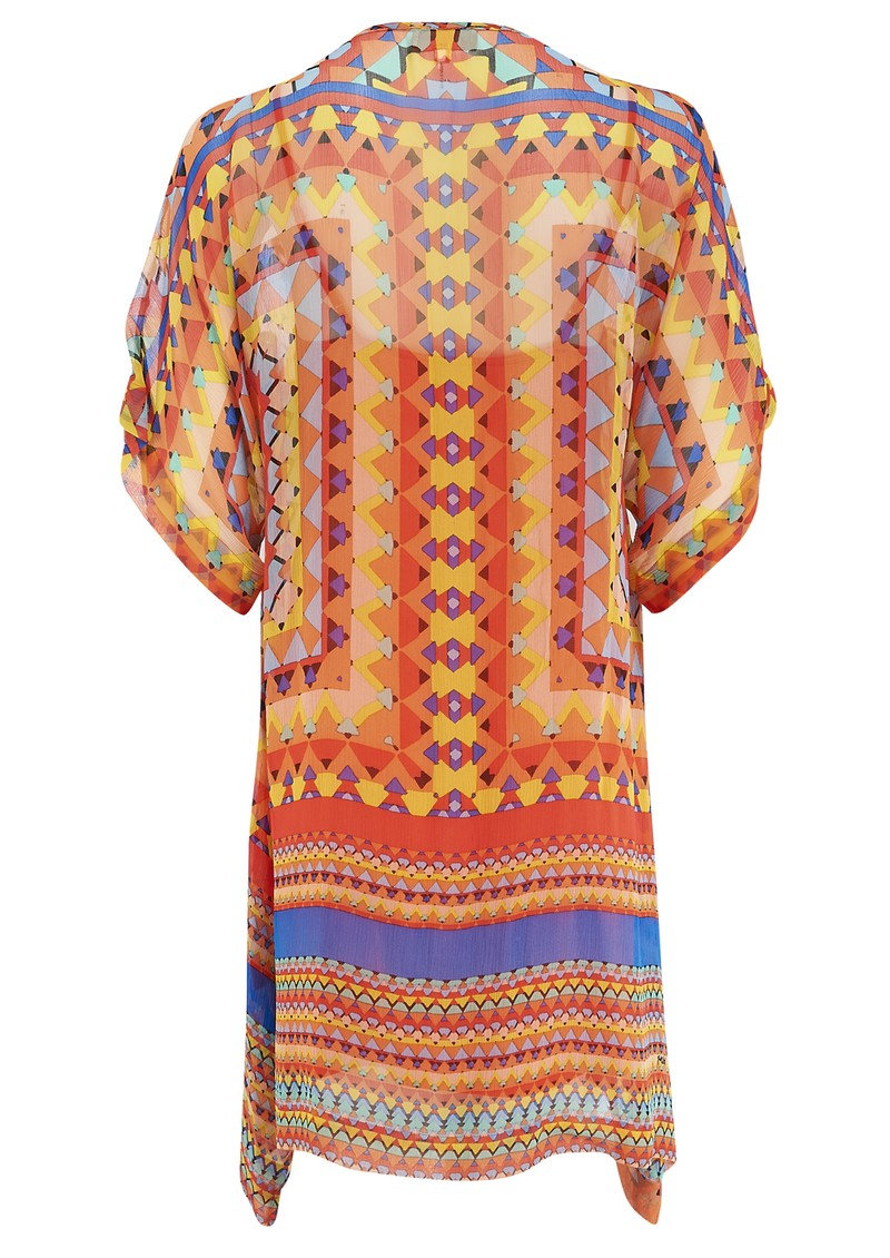 Printed Silk Tunic - Coral main image
