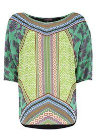 Hale Bob Print Geo Silk Top - Lime