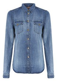 7 For All Mankind Classic Western Denim Shirt - Fading Indigo