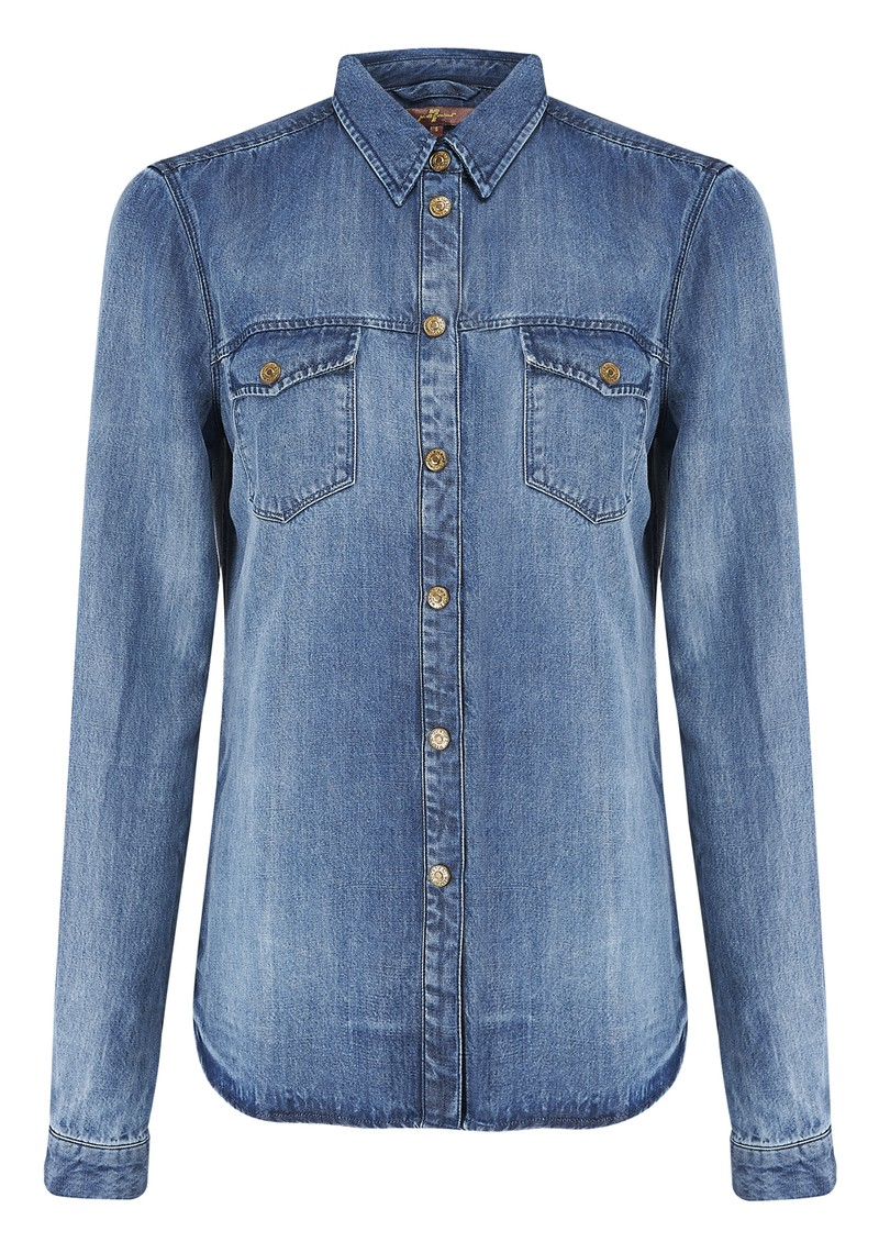 7 For All Mankind Classic Western Denim Shirt - Fading Indigo  main image