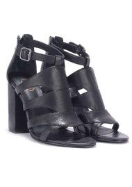 Ash Emotion Leather Heeled Sandal - Black