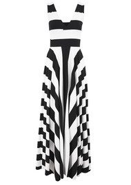 NADIA TARR Cross Over Stripe Gown - Black & White