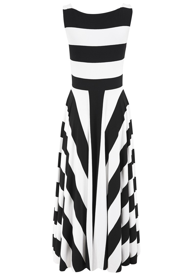 3/4 Stripe Dress - Black & White main image