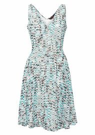 Great Plains Chevron Candy V Neck Dress - Double Cream