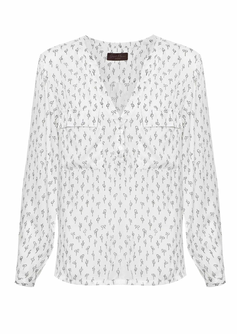 Get Knotted Blouse - Cream & Black main image