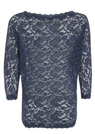 Rosemunde Lace Batwing Top - Navy