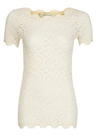 Rosemunde Lace Short Sleeve Top - Marble