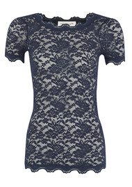 Rosemunde Lace Short Sleeve Top - Navy