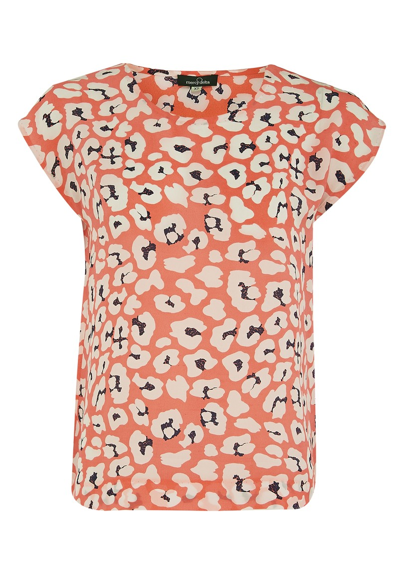 Mercy Delta Blair Leopard Short Sleeve Blouse - Orange main image