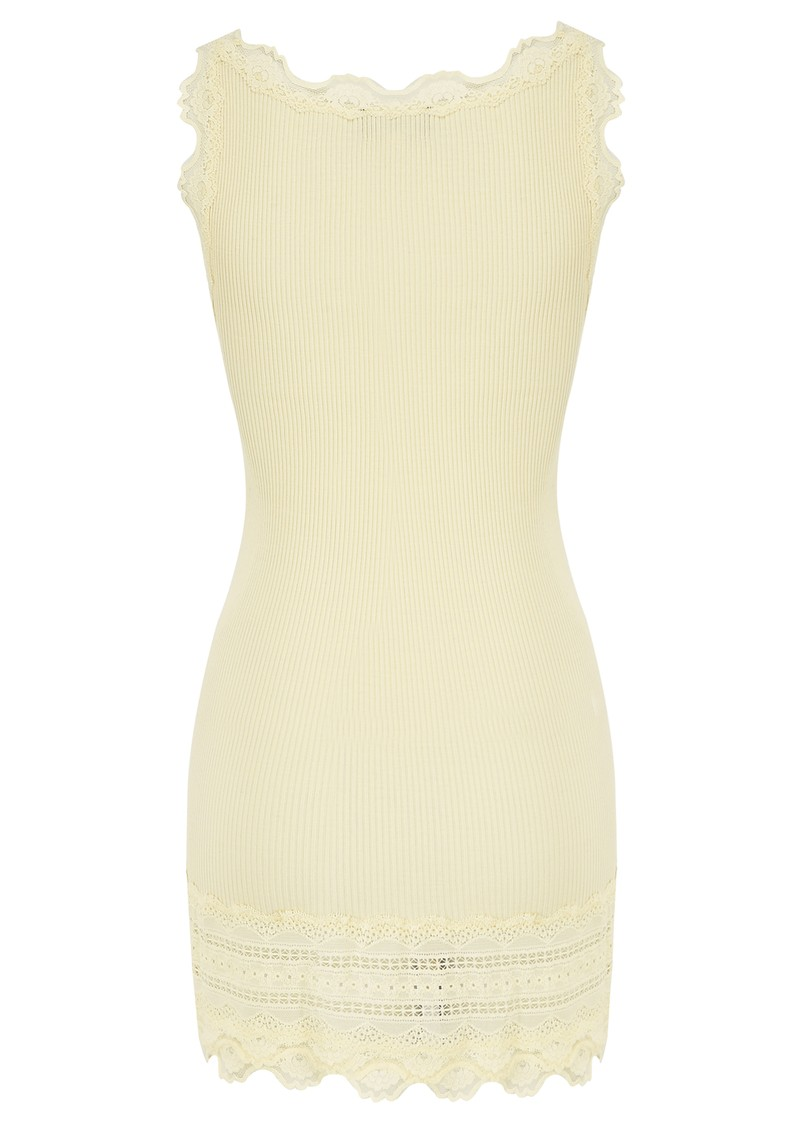 Wide Lace Silk Blend Tank - Pale Yellow main image