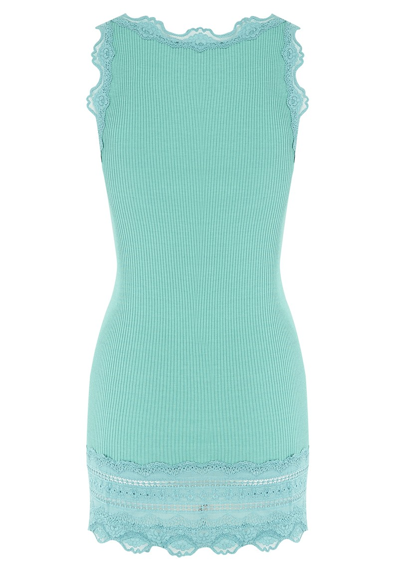 Wide Lace Silk Blend Tank - Lagoon main image