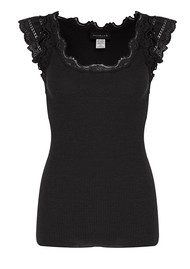 Rosemunde Short Sleeve Silk Blend Top - Black