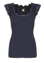 Rosemunde Short Sleeve Silk Blend Top - Blueberry Melange