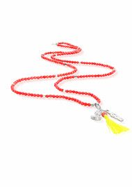 ChloBo Let's Dance Pink Coral Necklace with Buddha Bust & Peace in Love Charm - Silver & Pink Coral