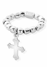 ChloBo Let's Dance Silver Chunk Mini Cross Ring - Silver