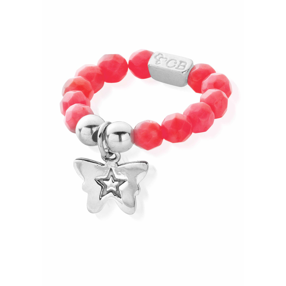 Lets Dance Pink Coral Tiny Butterfly Ring  Silver & Pink Coral