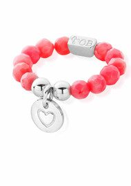 ChloBo Let's Dance Pink Coral Heart In Circle Ring - Silver & Pink Coral