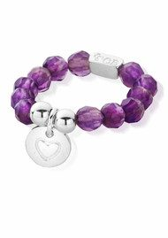 ChloBo Let's Dance Amethyst Heart in Circle Ring - Silver & Amethyst