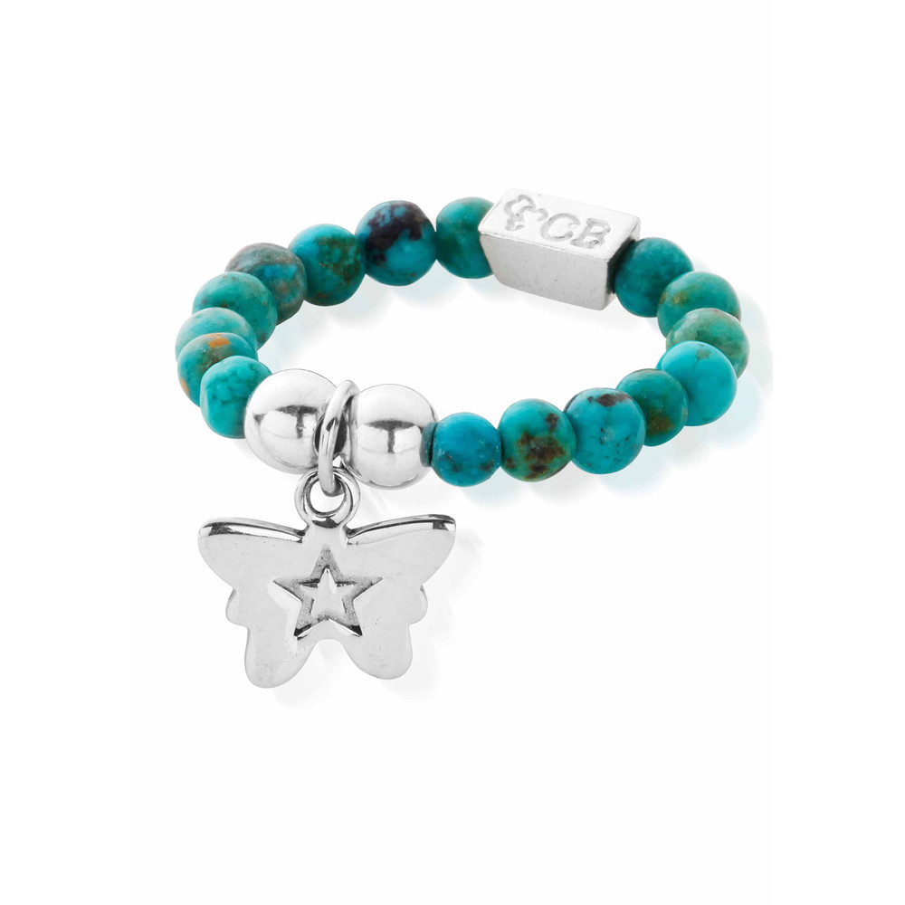 Lets Dance Turquoise Tiny Butterfly Ring  Silver & Turquoise