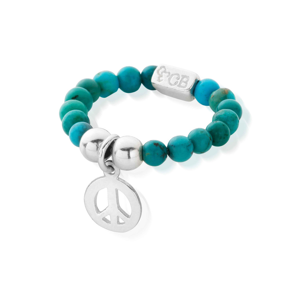 Lets Dance Turquoise Didi Peace Ring  Silver & Turquoise
