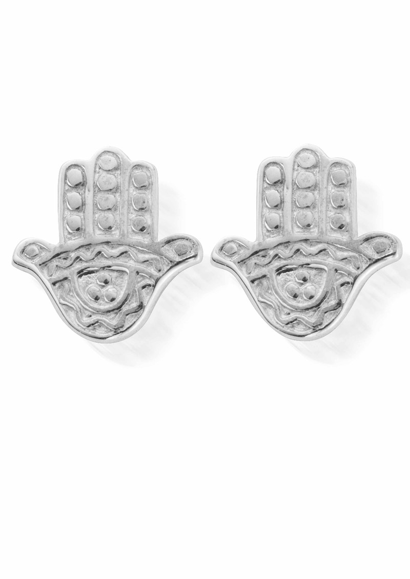 ChloBo Let's Dance Tiny Decorated Hamsa Hand Earrings - Silver  main image