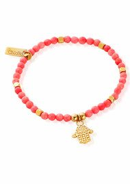 ChloBo Let's Dance Pink Coral Decorated Hamsa Hand Bracelet - Gold & Pink Coral