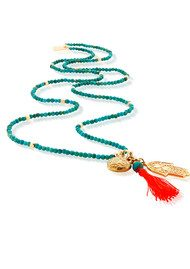ChloBo Let's Dance Turquoise Small Decorated Heart & Hamsa Hand Necklace - Gold & Turquoise