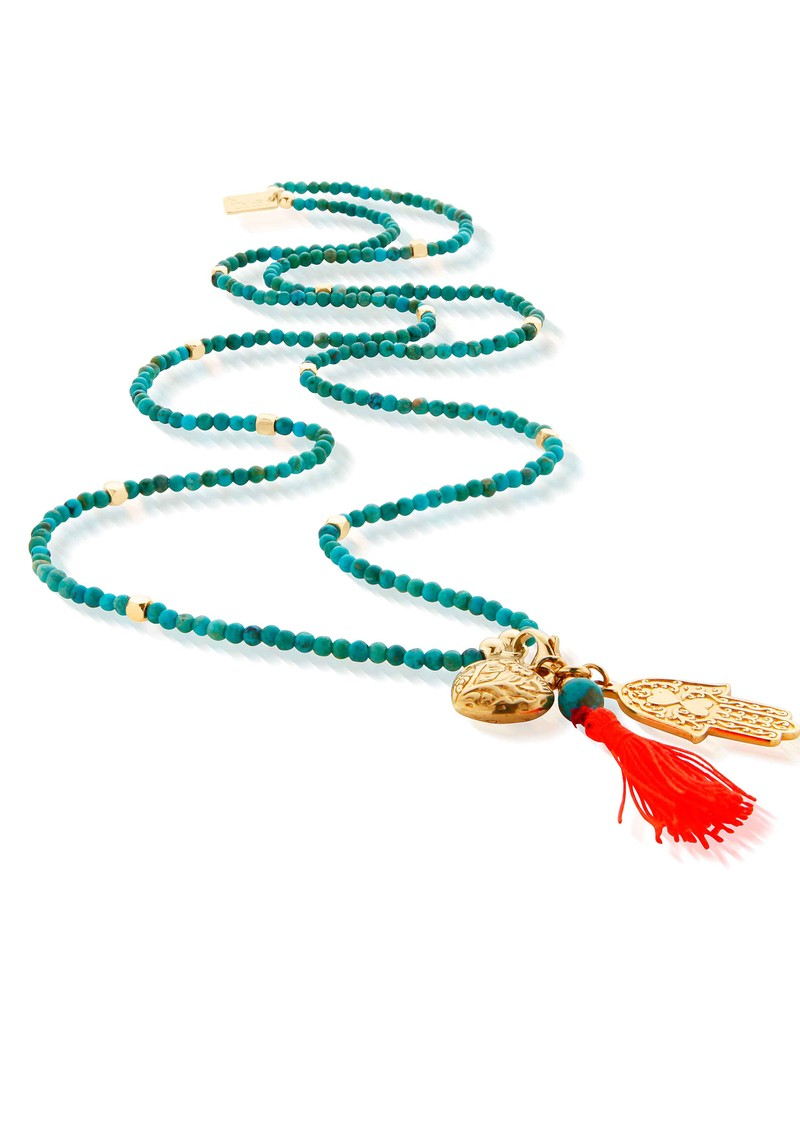 Let's Dance Turquoise Small Decorated Heart & Hamsa Hand Necklace - Gold & Turquoise  main image
