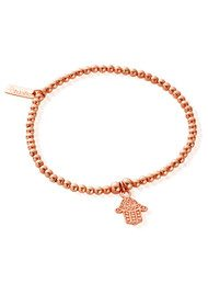 ChloBo Let's Dance Cute Charm Tiny Decorated Hamsa Bracelet - Rose Gold