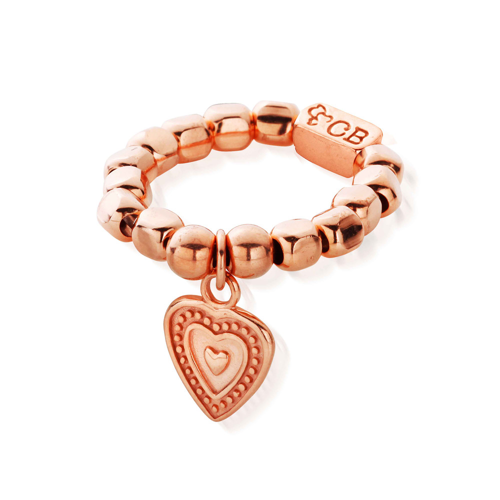 Lets Dance Chunk Ring Small Decorated Heart Small Ring  Rose Gold