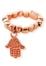 ChloBo Let's Dance Chunk Ring Tiny Decorated Hamsa Ring - Rose Gold