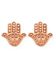 ChloBo Let's Dance Tiny Decorated Hamsa Earrings - Rose Gold