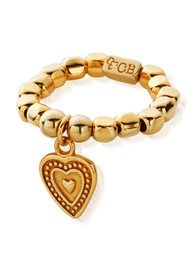 ChloBo Let's Dance Chunk Ring with Decorated Heart - Gold