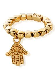 ChloBo Let's Dance Chunk Ring with Tiny Decorated Hamsa - Gold