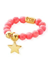 ChloBo Let's Dance Pink Coral Ring with Mini Star - Gold