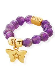 ChloBo Let's Dance Amethyst Ring with Tiny Butterfly - Gold