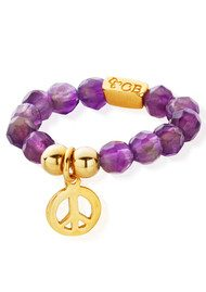 ChloBo Let's Dance Amethyst Didi Peace Ring - Gold