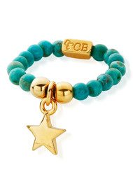 ChloBo Let's Dance Turquoise Ring with Mini Star - Gold