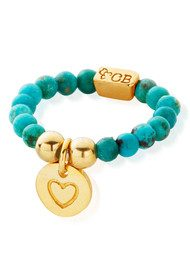 ChloBo Let's Dance Turquoise Ring with Heart in Circle Charm - Gold