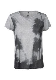 2nd Day Slim Short Sleeve Palm Tee - Light Grey