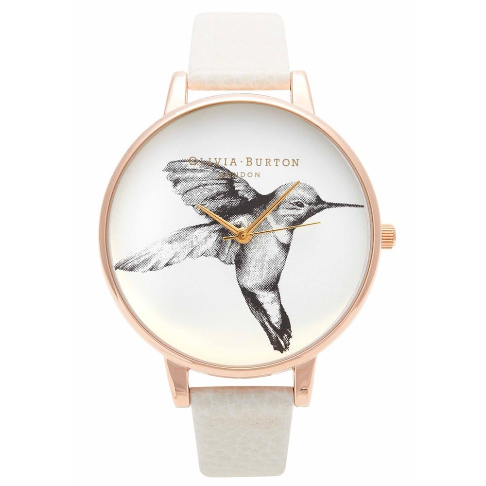 Hummingbird Motif Watch - Mink & Rose Gold