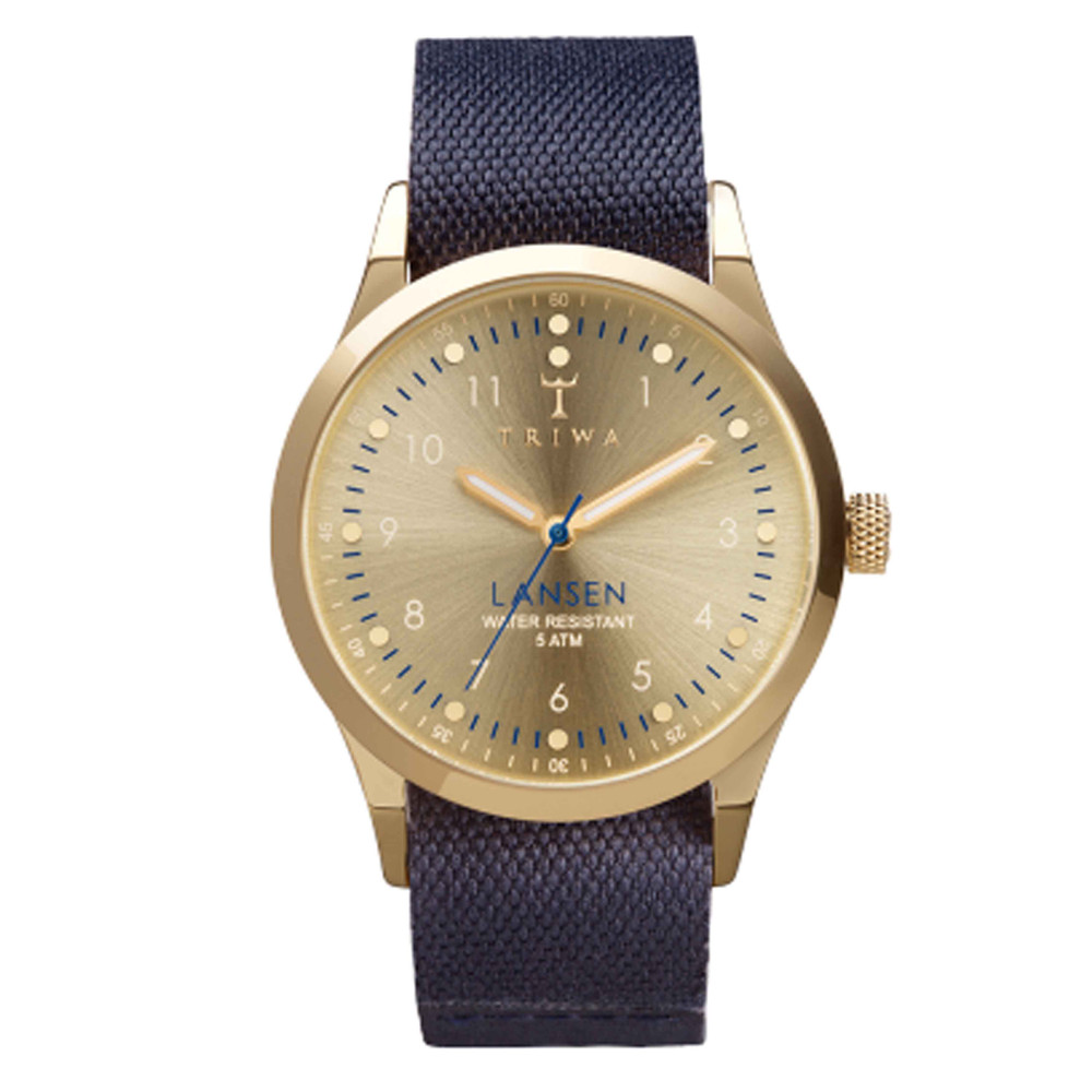 Gold Lansen Watch  Gold & Navy Blue