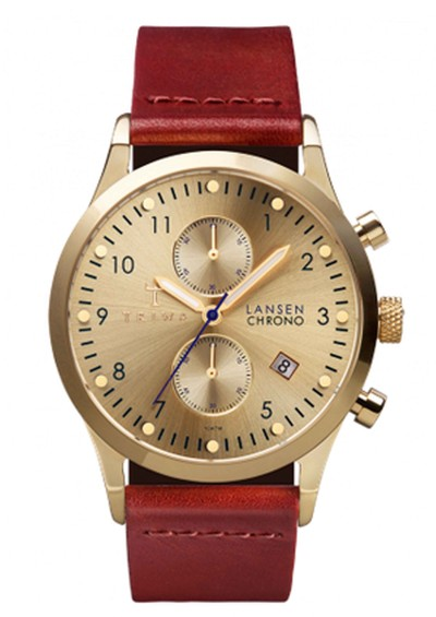 Triwa Gold Lansen Watch - Gold & Brown Braided main image