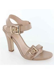 Lola Cruz Double Buckle Nude Heel - Nude