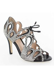 Lola Cruz Cut Out Stiletto Heels - Black & White