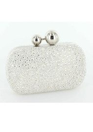 Lola Cruz Suede Diamante Clutch Bag - Silver