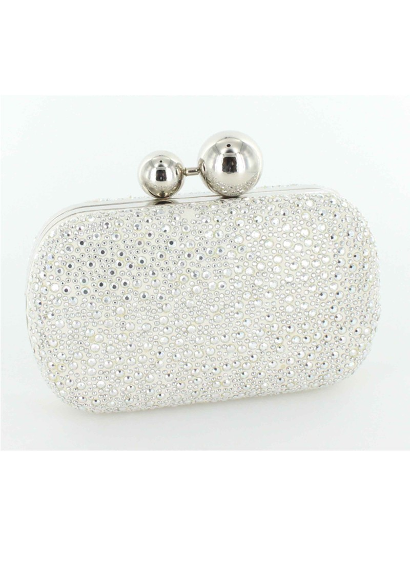 Lola Cruz Suede Diamante Clutch Bag - Silver main image