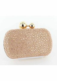 Lola Cruz Suede Diamante Clutch Bag - Rose Gold
